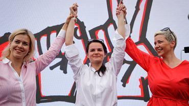 Od lewej: Weranika Capkała, Swiatłana Cichanouska i Maryja Kalesnikawa