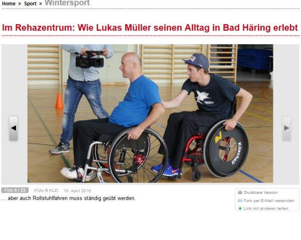 Lukas Mueller podczas rehabilitacji