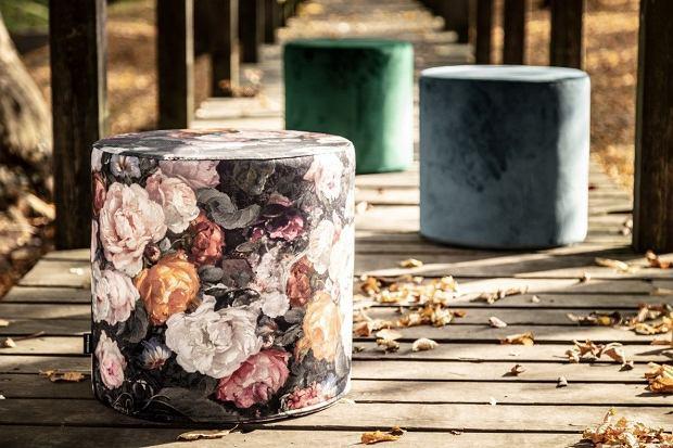 Puf Barrel z motywem kwiatowym