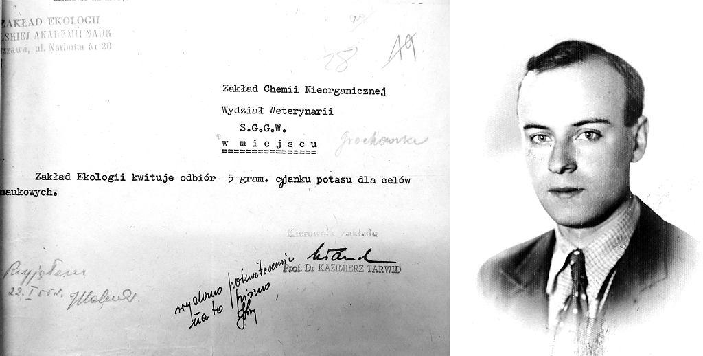 Dokument potwierdzający wydanie potasu cyjanku i Kazimierz Tarwid - fotografia portretowa
