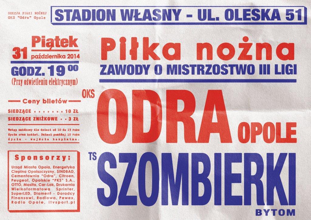 z okazji meczu z Szombierkami powstał specjalny plakat stylizowany na