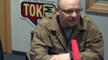 Łukasz Warzecha w studiu radia TOK FM