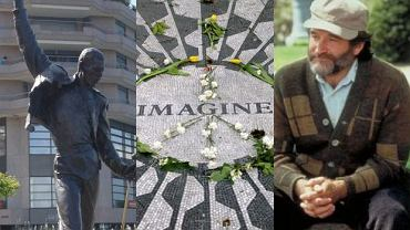 """Pomnik Freddie'ego Mercury'ego, mozaika upamiętniająca Johna Lennona i Robin Williams na legendarnej ławce z """"Buntownika z wyboru"""""""