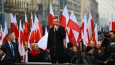 Prezydent Andrzej Duda na czele Marszu Niepodległości w 2018 roku