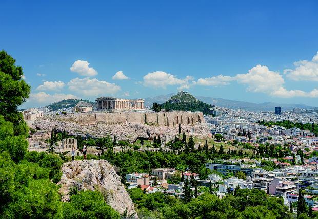 Wzgórze Lycabettus w Atenach, widok na Akropol