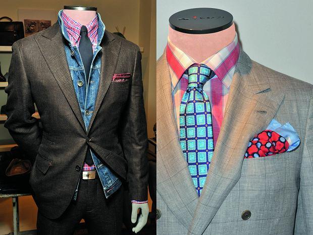 Kolorowe koszule i poszetki, dodatki