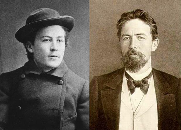 Po lewej : Anton Czechow w 1882 roku. Miał tu 22 lata. Po prawej: czterdziestoletni Czechow w Jałcie (1900 r.) / Fot. Wikimedia Comons/domena publiczna