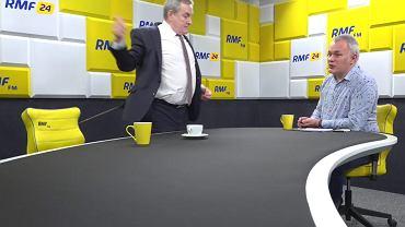 Minister kultury w rządzie PiS Piotr Gliński rzuca mikrofon i wychodzi. Wywiad w studiu RMF prowadzi Robert Mazurek. Warszawa, 24 stycznia 2019