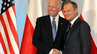 Wiceprezydent Stanów Zjednoczonych Joe Biden i premier Donald Tusk podczas spotkania w Warszawie, 2014 r.