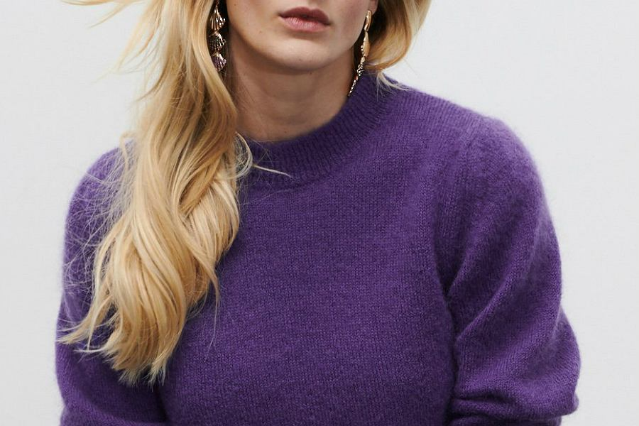fioletowe swetry