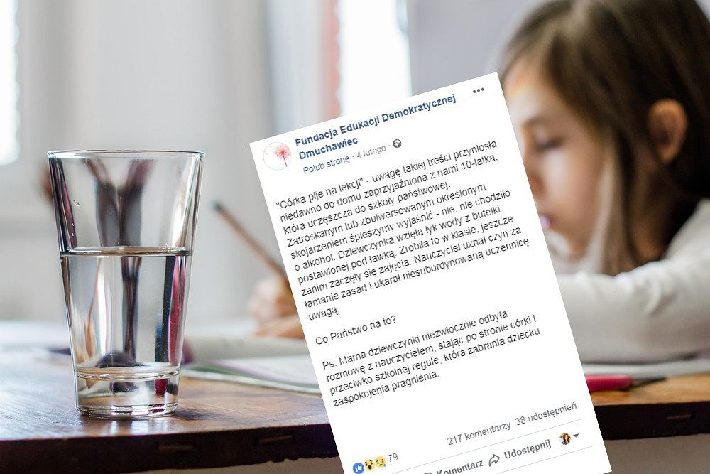Dziecko dostało uwagę za picie wody w trakcie lekcji