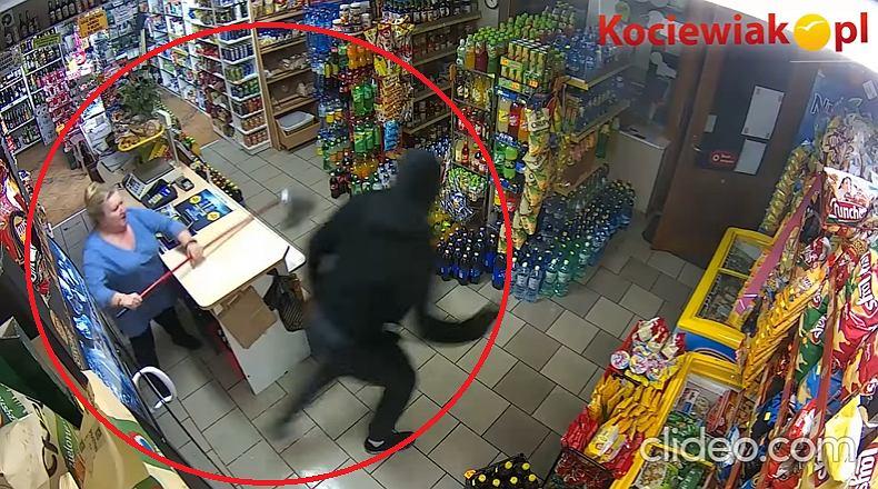 Pinczyn. Mężczyzna napadł na sklep, właścicielka przegoniła go mopem