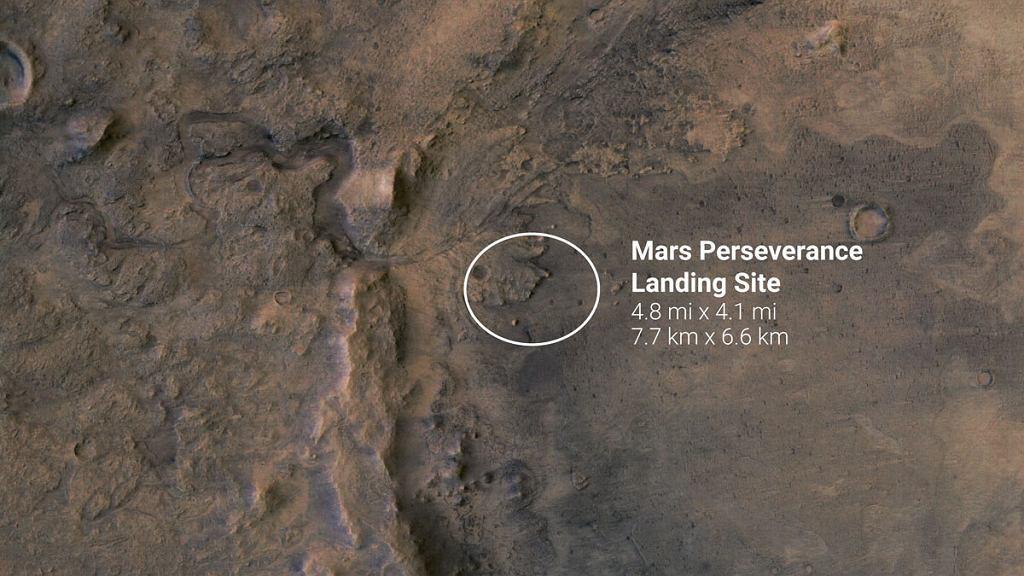 Wyznaczone wcześniej miejsce lądowania łazika Perseverance