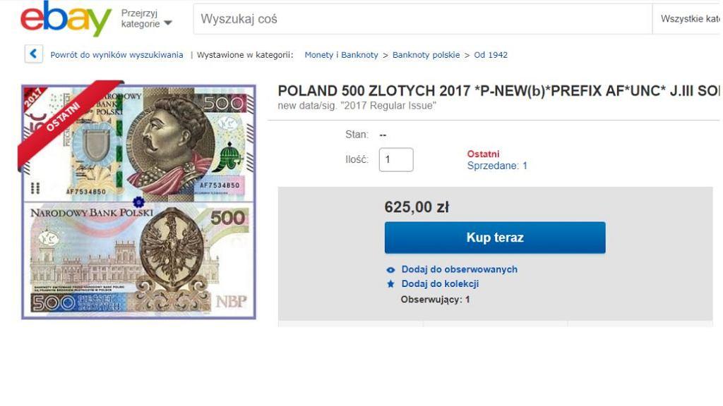 Banknot 500 zł na eBay