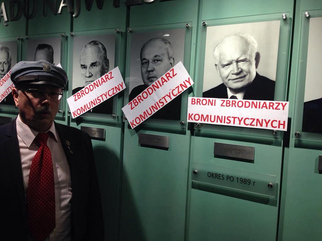 Protest Konfederacji Polski Niepodległej w Sądzie Najwyższym. Na zdjęciu Adam Słomka