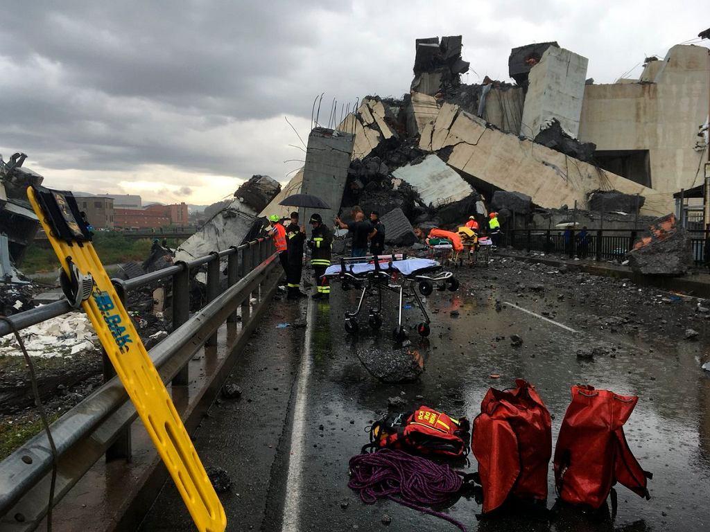 Genua, katastrofa budowlana, zniszczony wiadukt
