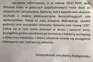 Marsz Równości w Białymstoku. Obrzydliwe ulotki na białostockich osiedlach