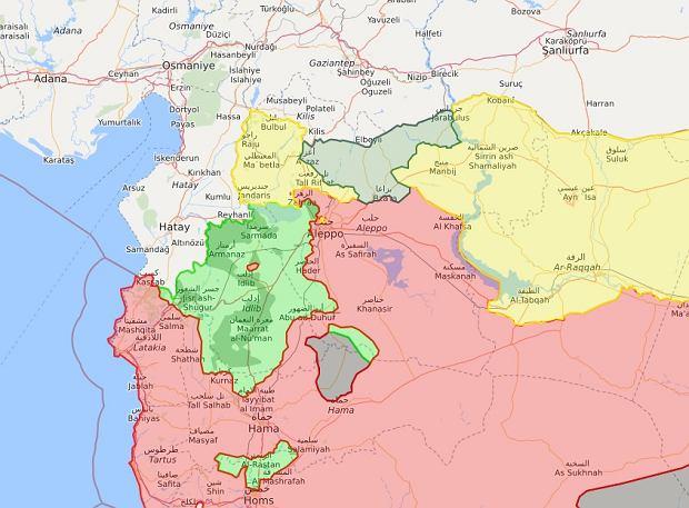 Północny zachód Syrii i pogranicze tureckie. Kolor żółty - tereny kurdyjskie, kolor zielony - tereny rebeliantów (w tym wspieranych przez Turcję), kolor czerwony - tereny pod kontrolą rządu w Damaszku