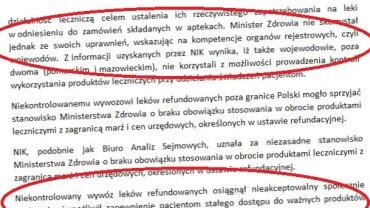 Fragmenty raportu NIK, do którego dotarło radio TOK FM