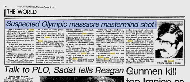 Artykuł w kanadyjskiej gazecie poświęcony zamachowi na Daouda. Oparty o depesze agencyjne z Polski i Europy