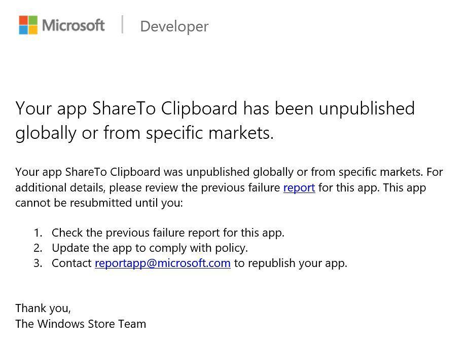 Komunikat o usunięciu aplikacji z Windows Store