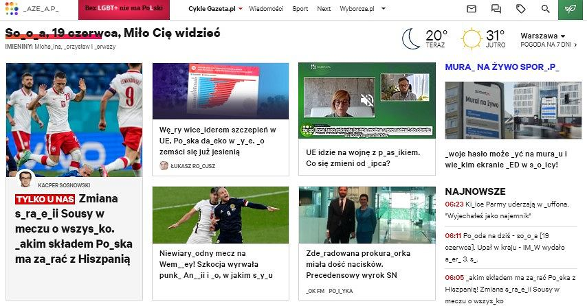 Widok strony głównej Gazeta.pl w czasie akcji 'Bez LGBT+ nie ma Polski'