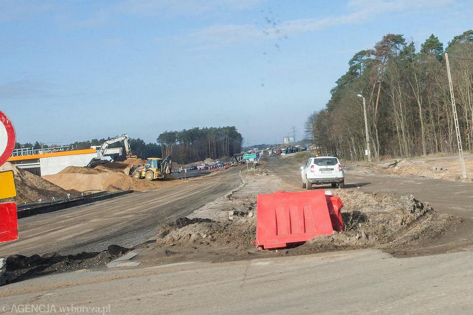 Odcinek Polkowice - Lubin wciąż w budowie. zdjęcie zostało zrobione 17 listopada 2018