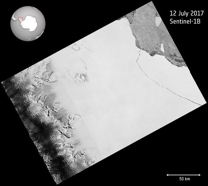Zdjęcie satelitarne lodowca Larsen C