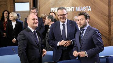 Piotr Krzystek i jego dwaj zastępcy Krzysztof Soska i Daniel Wacinkiewicz