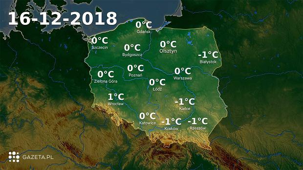 Mapa temperatury 16.12.2018r