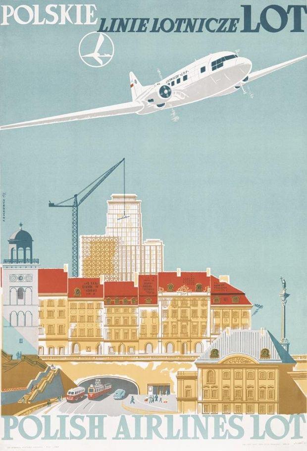 Plakat promocyjny LOT-u; Stanisław Łuckiewicz; 1951 r.