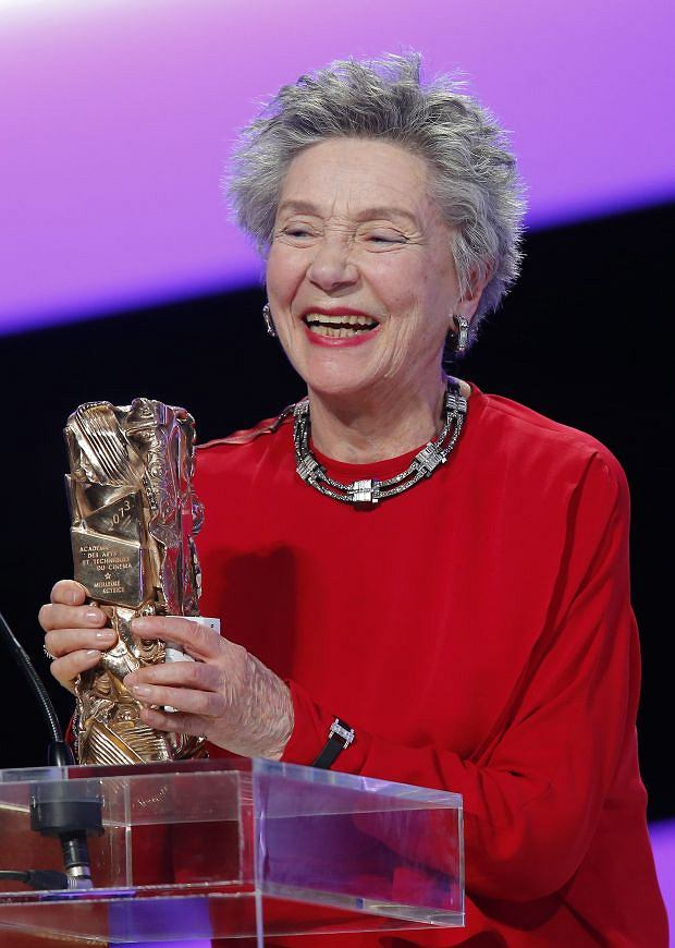 "French actress Emmanuelle Riva reacts after being awarded the Cesar of Best Actress award for Austrian filmmaker Micheal Haneke  film ""Amour"" (love) during  the 38th Cesar Film Awards at Theatre du Chatelet in Paris, France, Friday, Feb. 22, 2013. (AP Photo/Jacques Brinon)"