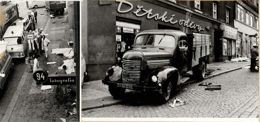 Miejsce tragedii i ciężarówka, którą kierowała Olga (fot. Archiv bezpecnostnich složek / Security Services Archive, zespół archiwalny MS-VB Praha, nr nab. 1565-1588/86, pakiet nr 358: plik doch. nr. 98/102-73: Hepnarová Olga)