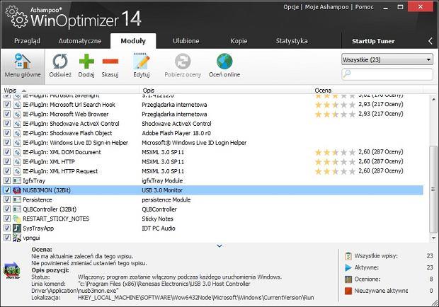 Ashampoo Win Optimizer - moduł wyłączania programów z autostartu