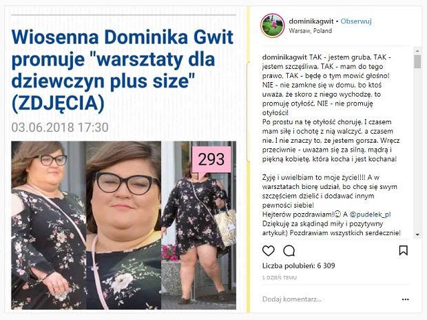 Dominika Gwit szczerze o swojej wadze