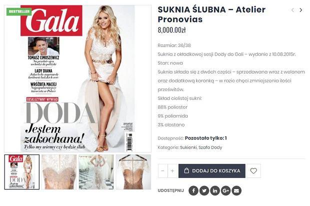 Doda wystawiła na sprzedaż suknię ślubną