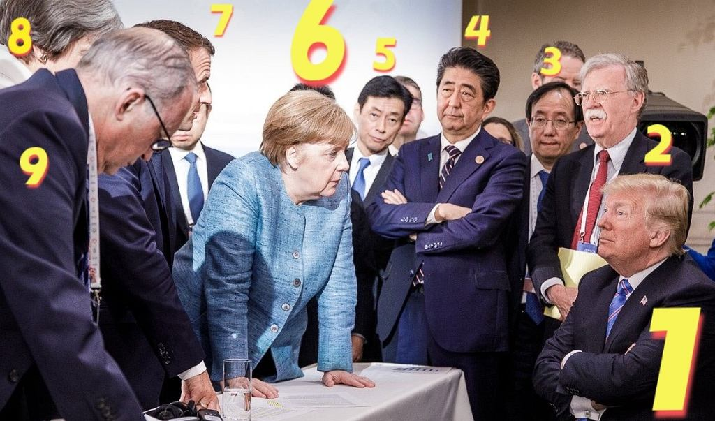 G7. Donald Trump i Angela Merkel w czasie dyskusji