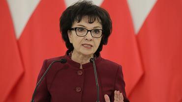 Marszałek Sejmu Elżbieta Witek podczas konferencji. Warszawa, 22 stycznia 2020