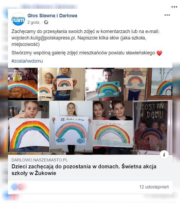 Dzieci zachęcają do pozostania w domu. Wyjątkowa akcja uczniów szkoły w Żukowie