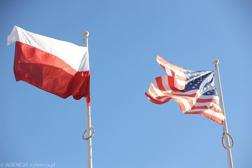Flaga Polski i USA