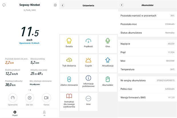 Zrzut ekranu z aplikacji Segway-Ninebot