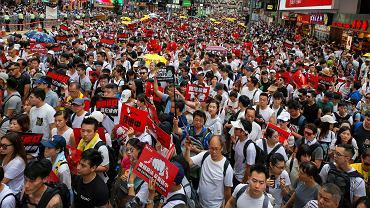 Hongkong, protesty przeciwko planowanym zmianom w prawie o ekstradycji.