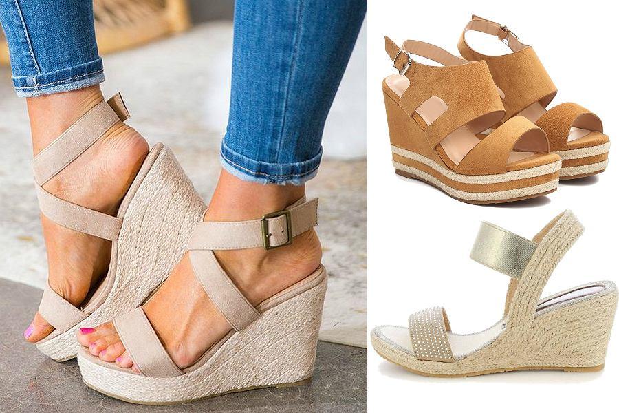 Buty wyszczuplające - sandały na koturnie