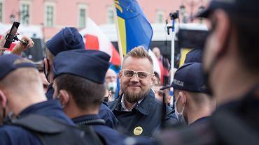 16.05.2020 Warszawa. Paweł Tanajno podczas strajku przedsiębiorców - w Warszawie