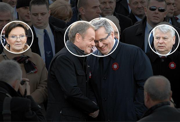 Ewa Kopacz, Donald Tusk, Bronisław Komorowski, Bogdan Borusewicz na marszu ''Razem dla Niepodległej''