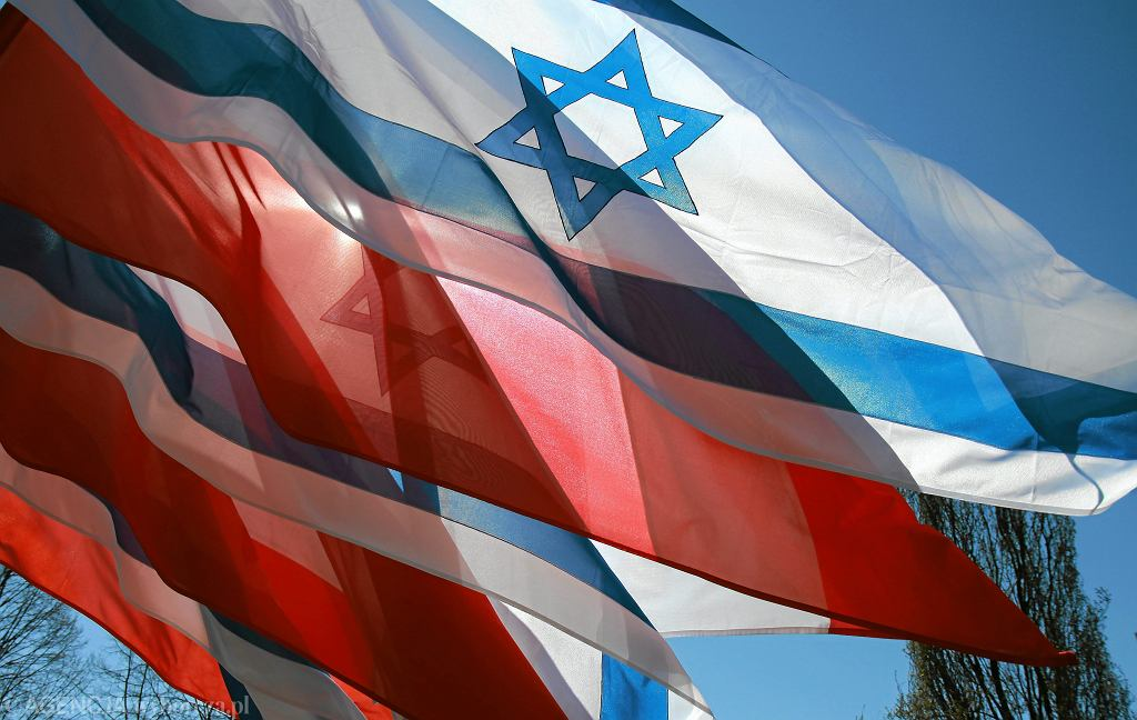 Flagi Polski i Izraela