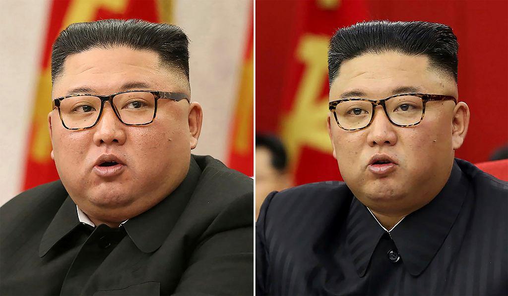 Kim Dzong Un (po lewej zdjęcie z 8 lutego 2021 r., z kolei z prawej z 15 czerwca 2021 r.)