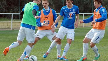 Trening Lecha Poznań w Costa Ballena. Od prawej: Karol Linetty, Dawid Kownacki i Łukasz Teodorczyk