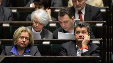 Wanda Nowicka i Janusz Palikot podczas głosowania