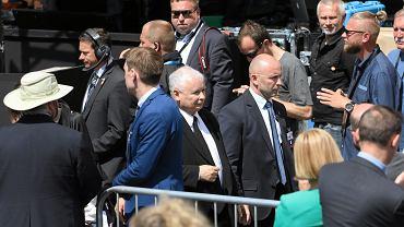 Prezes PiS Jarosław Kaczyński - po przemówieniu prezydenta USA Donalda Trumpa na pl. Krasińskich. Warszawa, 6 lipca 2017